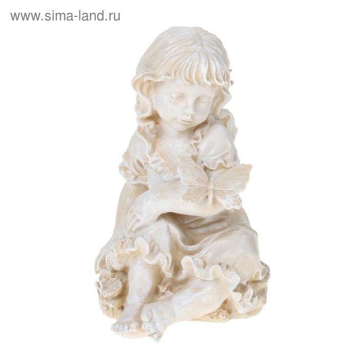 """Садовая фигура """"Девочка с бабочкой"""" белая"""