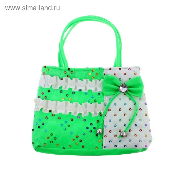 """Сумочка детская """"Бантик"""", 1 отдел на молнии, цвет бело-зеленый"""