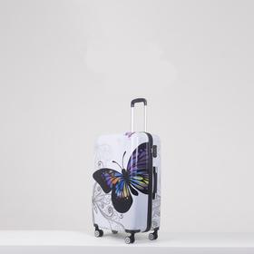 Чемодан 'Бабочка', средний, 24', 59 л, 4 колеса, кодовый замок, цвет белый Ош