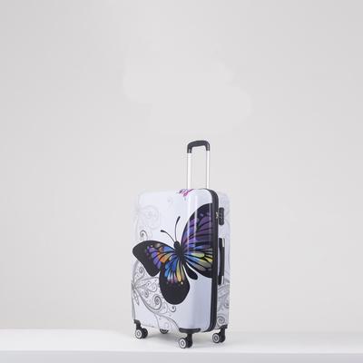 """Чемодан """"Бабочка"""", средний, 24"""", 59 л, 4 колеса, кодовый замок, цвет белый"""