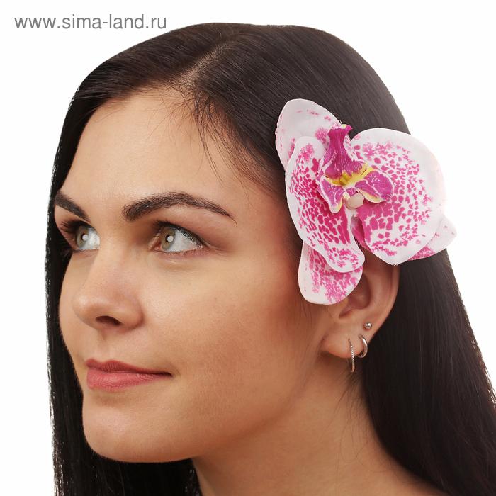 """Зажим """"Орхидея"""", цвет бело-розовый"""