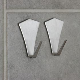 Набор крючков металлических на липучке, 2 шт 'Кристалл' Ош