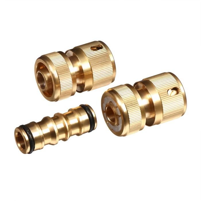 """Набор фитингов: муфта-коннектор d=1/2"""" (12 мм), муфта-коннектор с аквастопом d=1/2"""" (12 мм), коннектор-соединитель, цанговое соединение, латунь"""