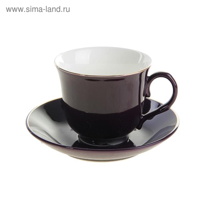 """Набор чайный """"Георгина"""", 2 предмета: чашка 260 мл, блюдце, коричневая"""