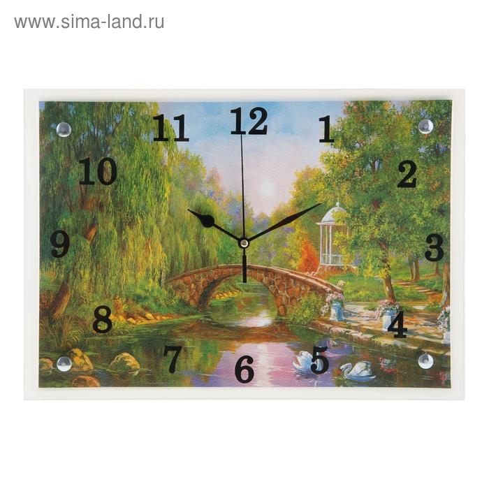 """Часы настенные прямоугольные """"Мост через реку"""", 25х35 см"""