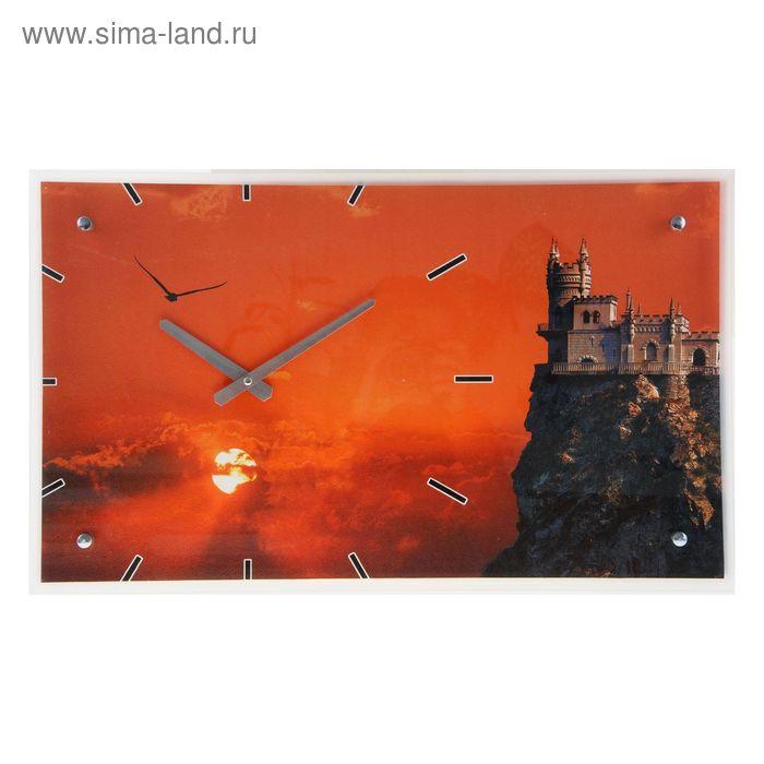 """Часы настенные прямоугольные """"Замок на закате"""", 35х60 см"""