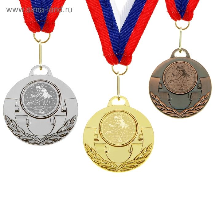 """Медаль тематическая 024 """"Фигурное катание"""" диам 5 см. Цвет бронз"""