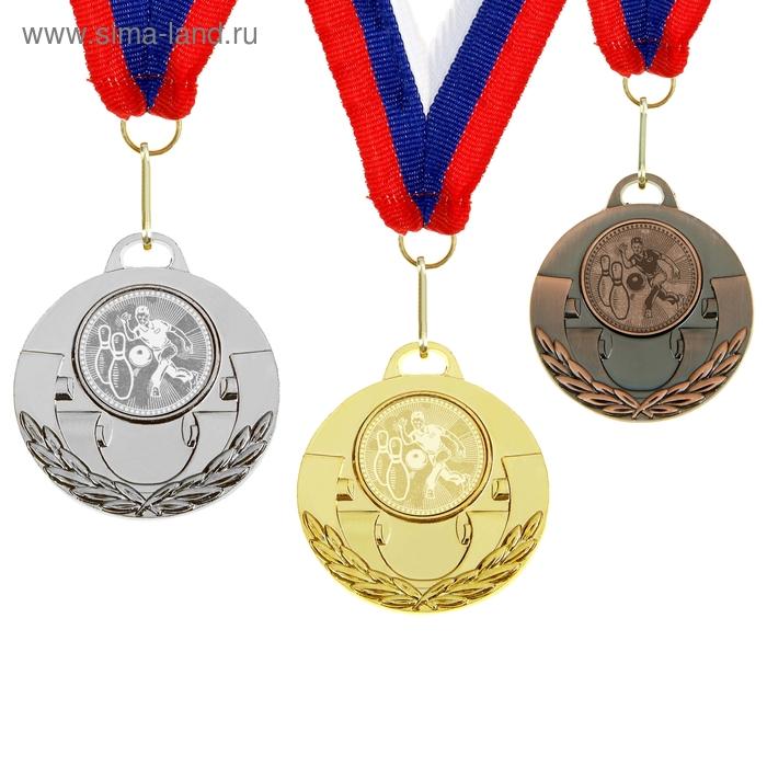 """Медаль тематическая 030 """"Боулинг"""" диам 5 см. Цвет зол"""