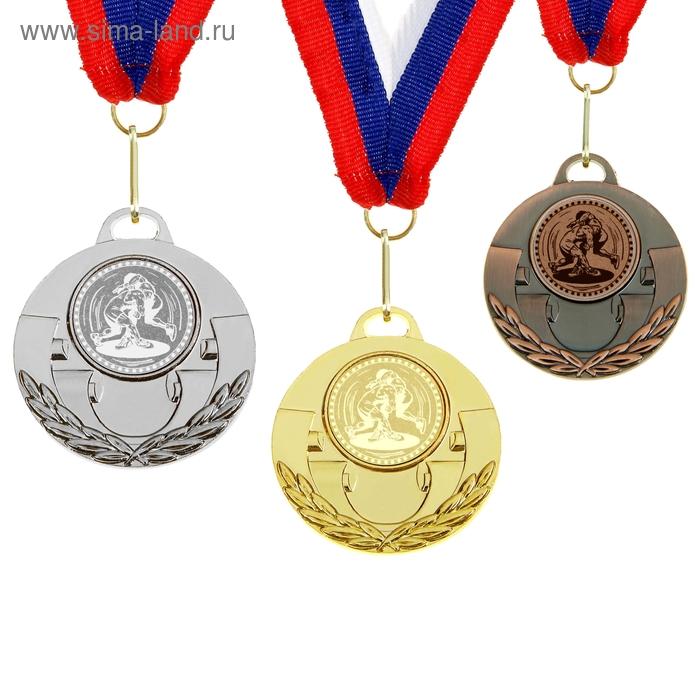 """Медаль тематическая 027 """"Вольная борьба"""" диам 5 см. Цвет бронз"""