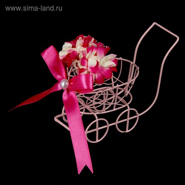 "Сувенир ""Колясочка с розовыми цветами"""