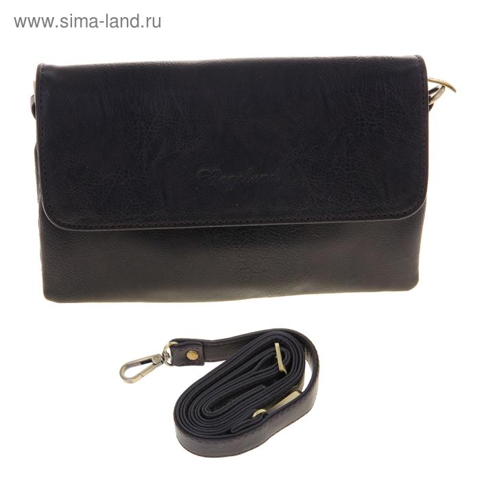 Сумка женская на клапане, 1 отдел, 1 наружный карман, регулируемый ремень, коричневая