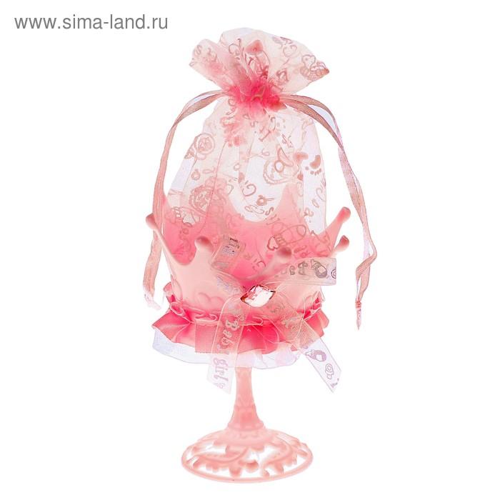 """Бонбоньерка """"Бокал"""" с камнем, цвет розовый"""