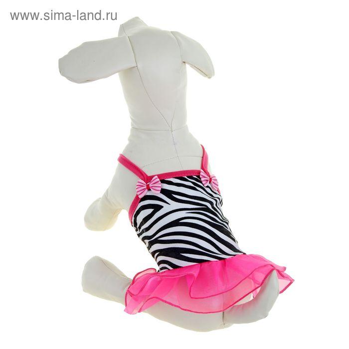 """Платье """"Зебра"""" с пышной юбкой, размер XL (длина спинки - 31 см, объем груди - 44 см)"""