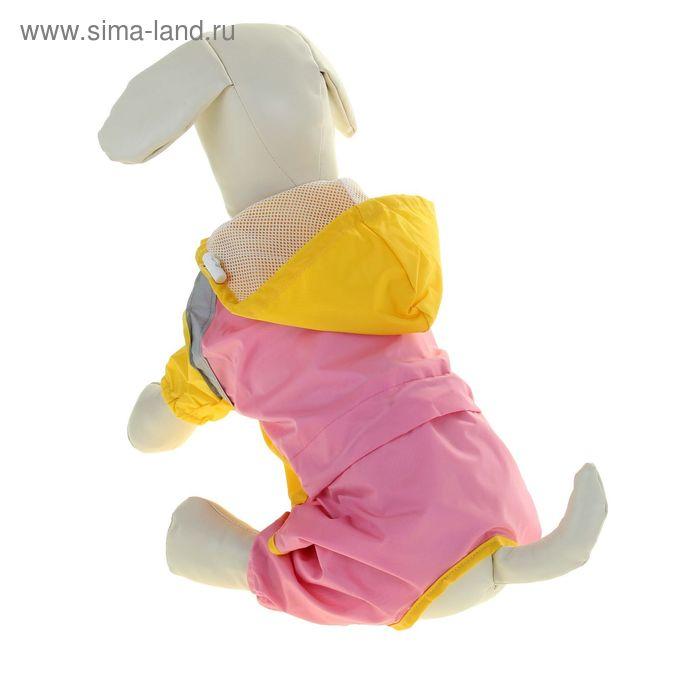 Комбинезон-дождевик со светоотражающими полосами, с подкладом, на затяжках, размер 18, розовый с желтым (длина спинки - 48 см, объем груди - 68 см)
