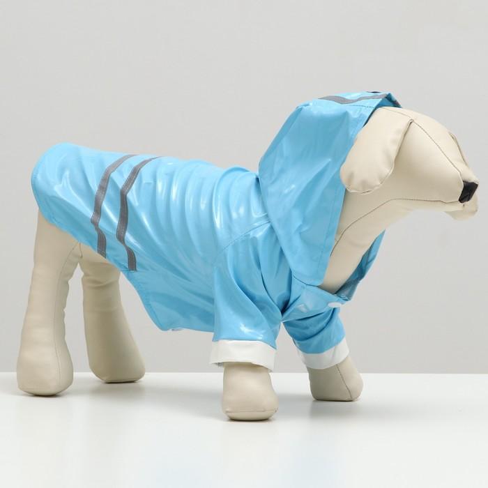 Куртка со светоотражающими полосами, размер L, голубая (длина спинки - 24 см, объем груди - 38 см)