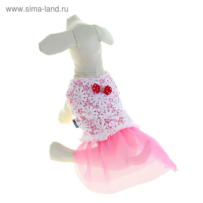 """Платье """"Нежность"""", размер S, розовое (длина спинки - 27 см, объем груди - 38 см)"""