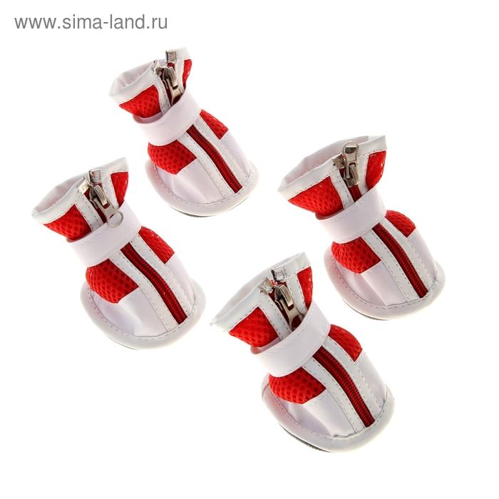 Ботинки Чемпион, набор 4 шт, размер 5 (подошва 7 х 5,5 см), бело-красные