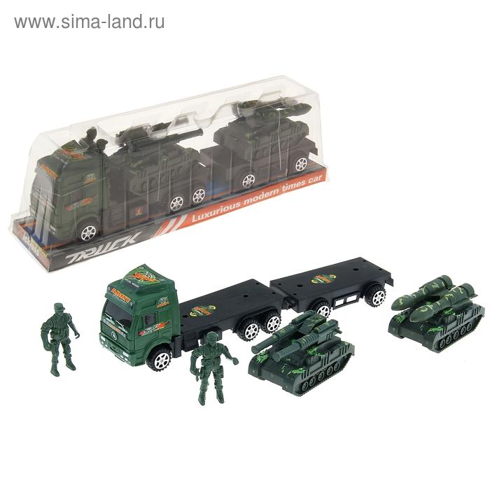 """Грузовик инерционный """"Военный трал"""", с 2 танками и солдатами"""