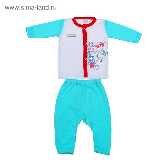 Комплект: кофточка длинный рукав на застежке/штанишки, 0-6 мес., 100% хлопок, цвет мятный микс