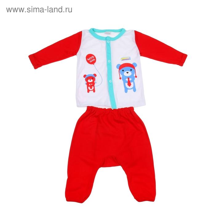 Комплект: кофточка длинный рукав на застежке/штанишки, 0-6 мес., 100% хлопок, цвет красный микс