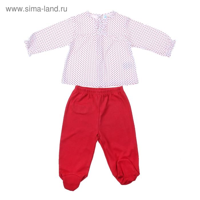 Комплект для девочки: кофта в красный горошек, штанишки, рост 74-80 см (6-9 мес.), цвет микс 9002NC1048