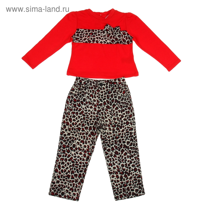 """Комплект для девочки """"Леопардовый принт"""": кофта, штанишки, рост 104-110 см (4-5л.), цвет микс 9077CC1484"""