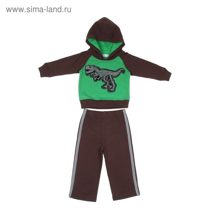 """Комплект для мальчика """"Динозавр"""": кофта, брюки, рост 98-104 см (24-36 мес.), цвет коричневый/зеленый 9122ID0304"""