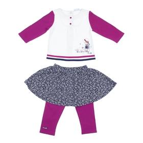 Комплект для девочки с пуговками: кофта, юбка, леггинсы, рост 68-74 см (6-9 мес.), цвет микс 9199NC1569