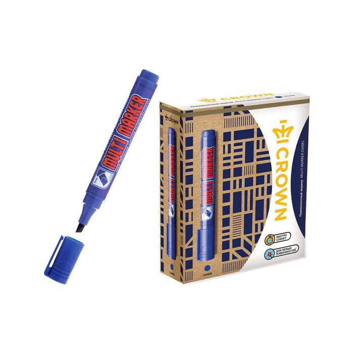 Маркер перманентный скошенный 5.0-1.0 мм Crown MULTI MARKER синий CPM-800CH