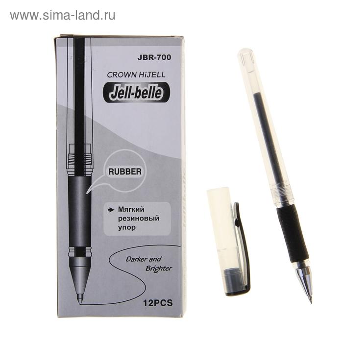 Ручка гелевая стандарт резиновый упор Crown JBR-700 черная, узел 0.5мм