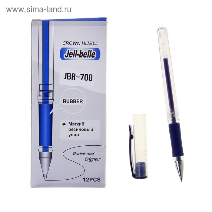Ручка гелевая стандарт резиновый упор Crown JBR-700 синяя, узел 0.5мм