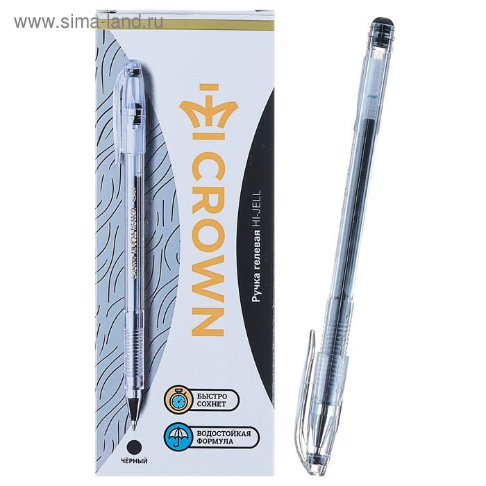 Ручка гелевая стандарт Crown HJR-500 черная, узел 0.5мм
