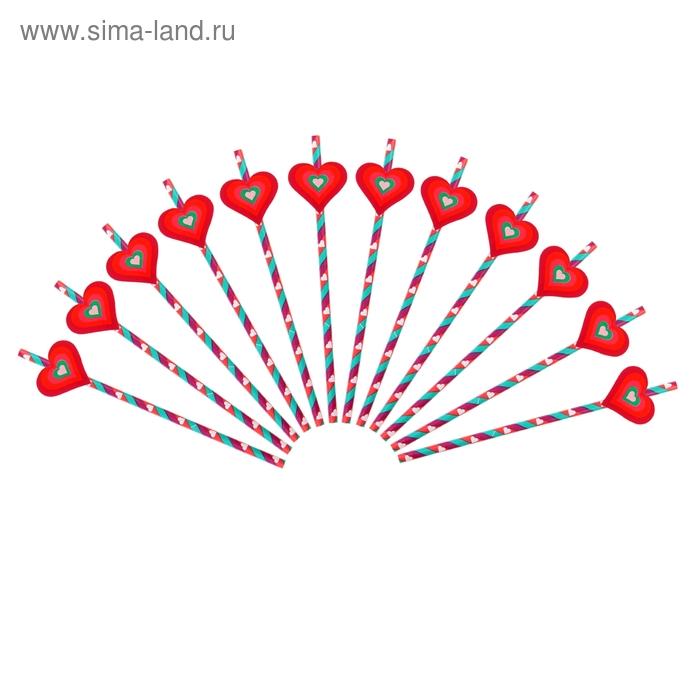 Трубочка для коктейля полоска с сердечком (набор 12 шт, 12 наклеек)