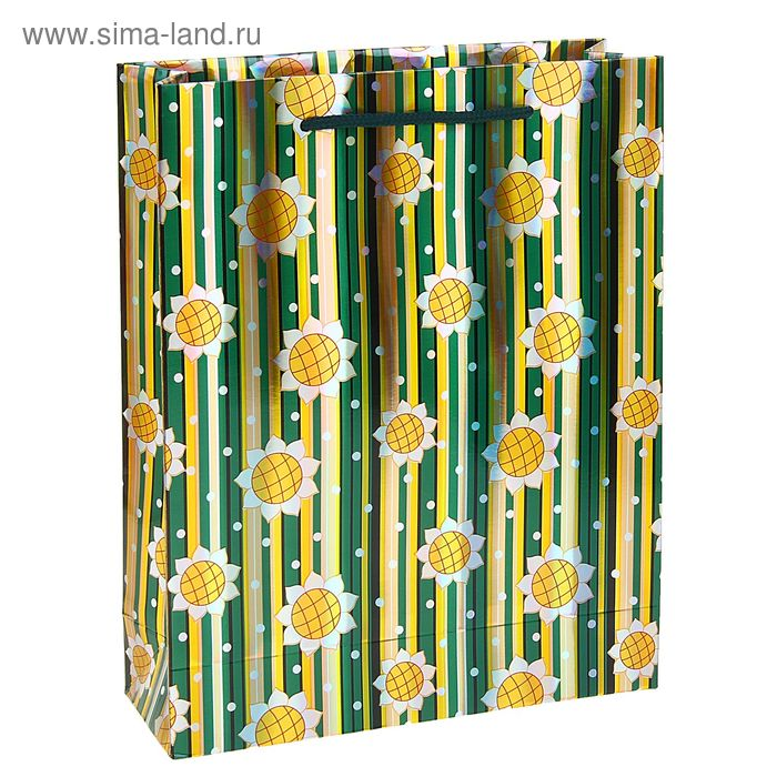 """Пакет ламинированный """"Подсолнухи и полоска"""", цвет зеленый"""