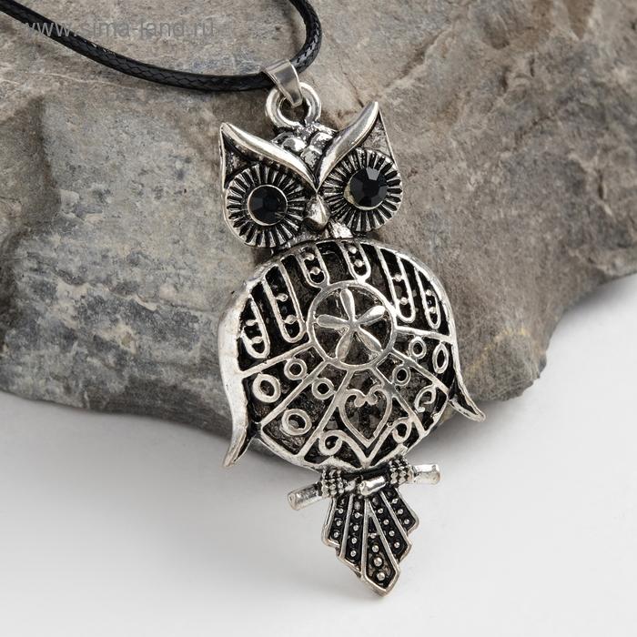 "Кулон ""Сова-Филин"", art, цвет черненое серебро, 90см"