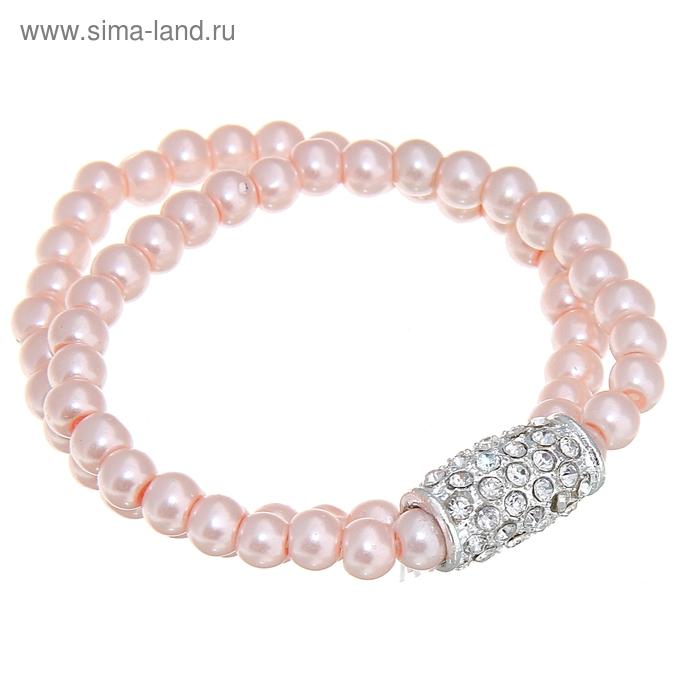 """Браслет """"Бочонок жемчужины"""" цвет нежно-розовый в серебре"""