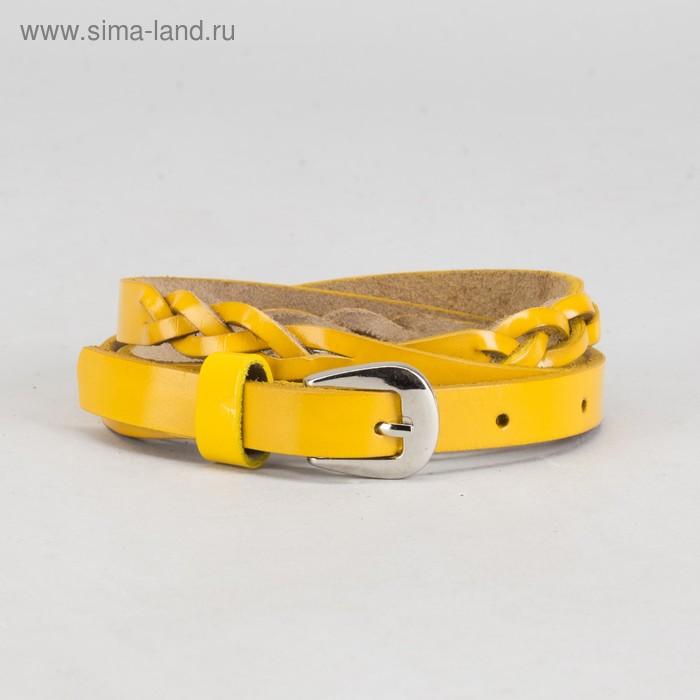 """Ремень женский """"Косичка"""", винт, пряжка - металл, ширина 1,5см, цвет жёлтый"""