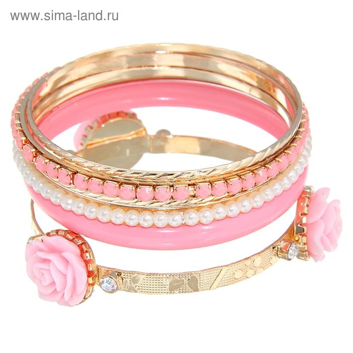 "Браслет-кольца 6 колец ""Цветок"" роза, цвет розовый в золоте"