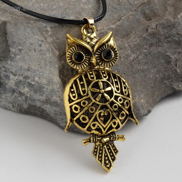 "Кулон ""Сова-Филин"", art, цвет черненое золото, 90см"