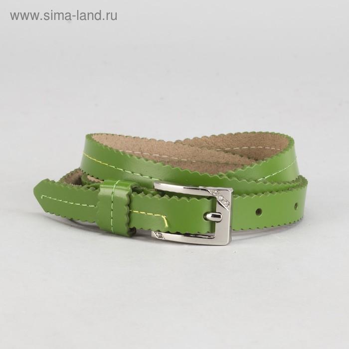 """Ремень женский """"Волна"""", винт, пряжка - металл, ширина 1,5см, цвет зелёный"""