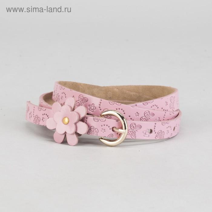 """Ремень женский """"Розочка"""", винт, цветок, пряжка под золото, ширина 1,5см, цвет розовый"""