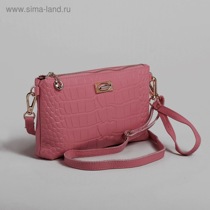 """Клатч """"Аллигатор"""", 1 отдел с перегородкой, наружный карман, ручка, длин ремень, цвет розовый"""