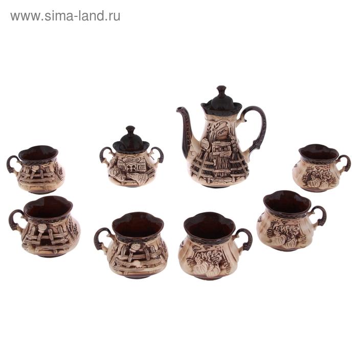 """Чайный набор """"Сонет"""" 8 предметов: чайник 1,5 л, сахарница 0,7 л, кружки 0,45 л"""