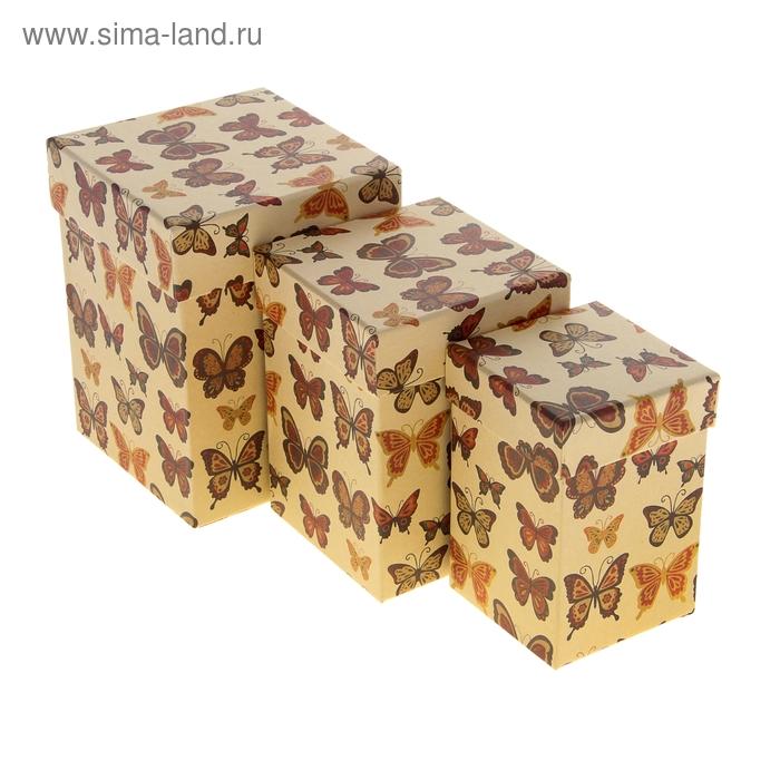 """Набор коробок 3в1 крафт """"Бабочки"""", 12,5 х 12,5 х 16 - 8,5 х 8,5 х 12,5 см"""