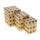"""Набор коробок 3в1 крафт """"Ромашки"""", 12,5 х 12,5 х 16 - 8,5 х 8,5 х 12,5 см"""