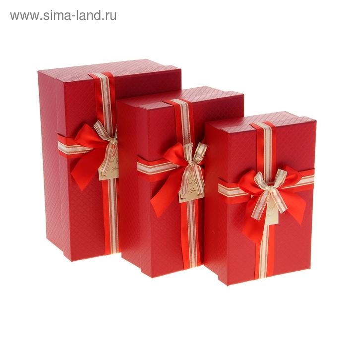 """Набор коробок 3в1 """"Ромбики"""", цвет красный"""