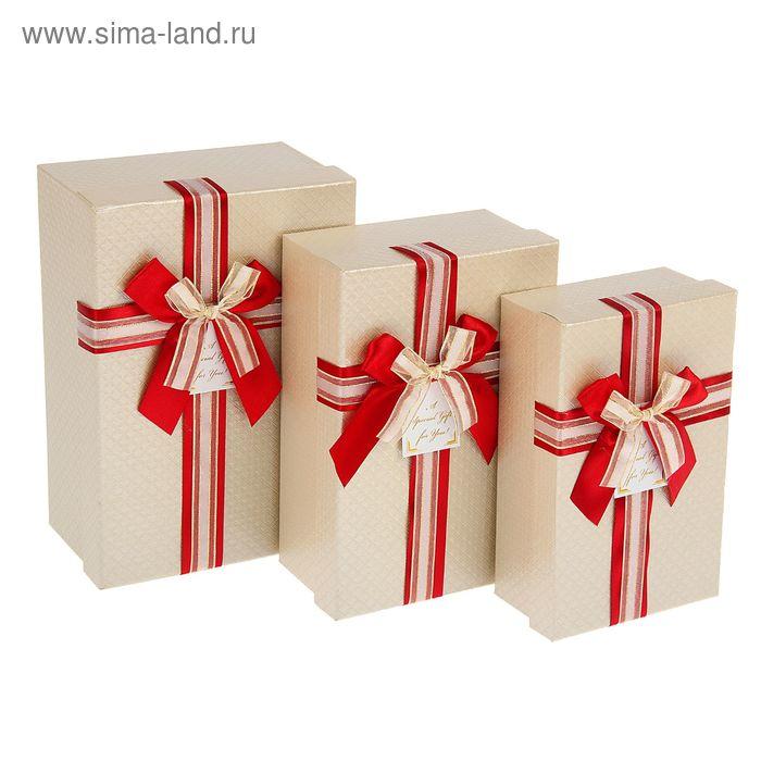 """Набор коробок 3в1 """"Ромбики"""", цвет бежевый"""