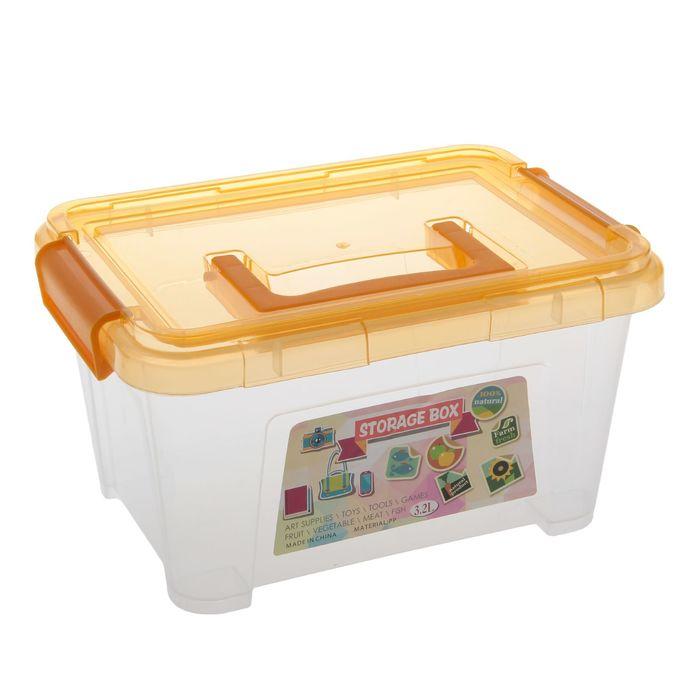 Контейнер для хранения 1,8 л, с крышкой на защелках и ручкой, цвет МИКС