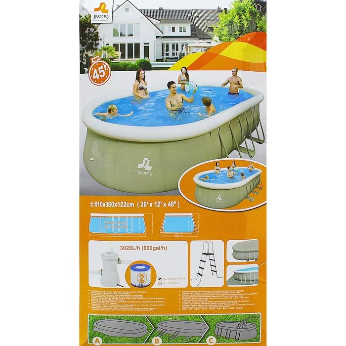 Бассейн надувной Oval Steel Frame Pool 610х360х122 см, фильтр-насос Jilong