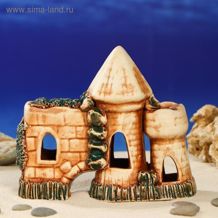 """Декорации для аквариума """"Стена с башнями"""" шамот, коричневая"""
